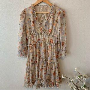 VICI Tan Ruffle Keyhole Floral Dress L